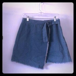 Wrap Jean Mini Skirt